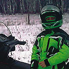 person on a snowmobile in Interlake region of Manitoba