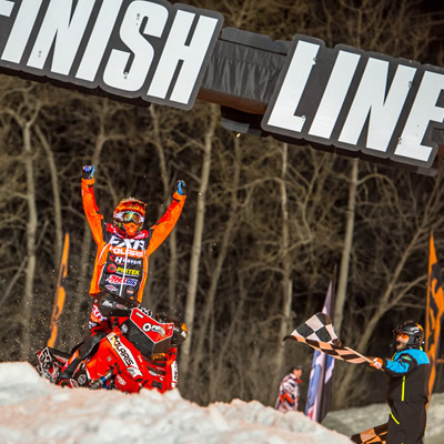 Kody Kamm celebrates as he crosses the finish line at the ISOC season finale in Lake Geneva, Wisconsin.