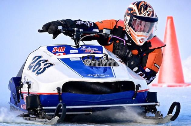 Keith Boxall on a vintage racing sled.