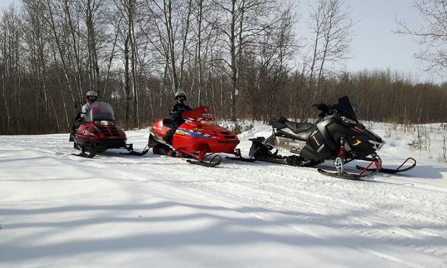 snowmobilers in Kelvington ready to go for a ride on the trails