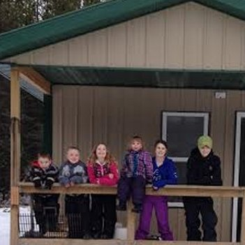 Kids at the snowmobile shelter in Edson.