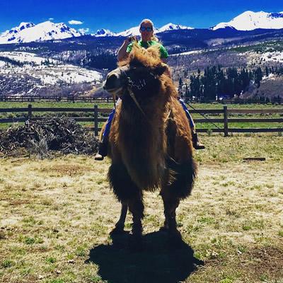 Kim Onasch on her camel.