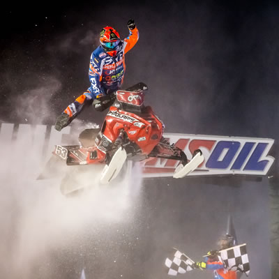 Kody Kamm races to a win in Round 6 of the AMSOIL Championship Series racing at Canterbury Park, in Shakopee, Minnesota.