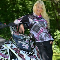 Krista-Maki Zurn with her snowmobile.