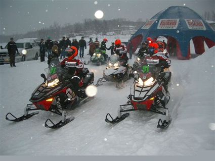 People riding sleds
