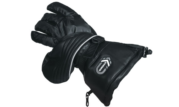 Black leather mittens that turn into gloves for snowmobiling.