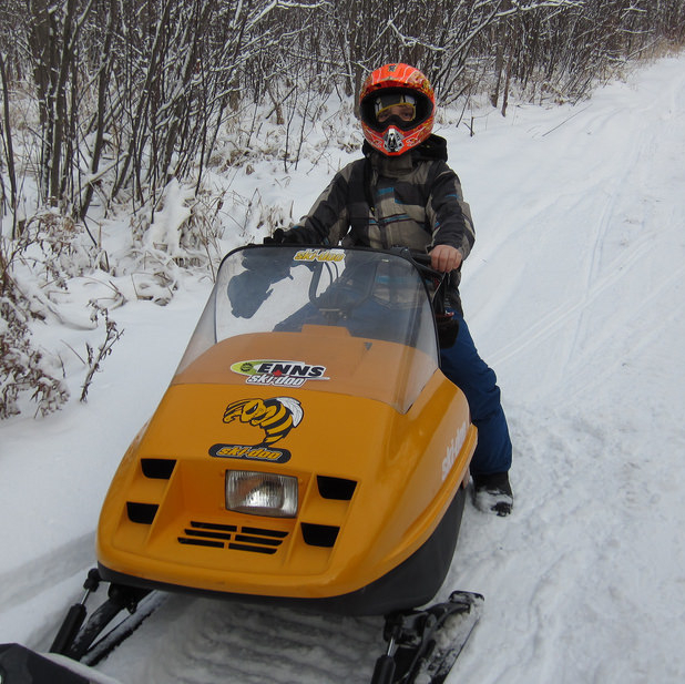 This young member of the Lee River Snow Riders is proud to live in such a sled-centric location.