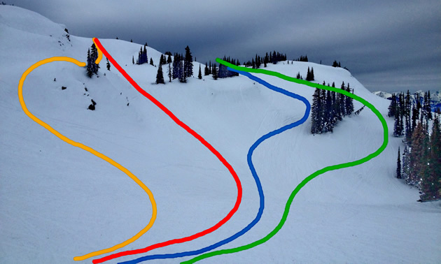 Different line choices on a slope.