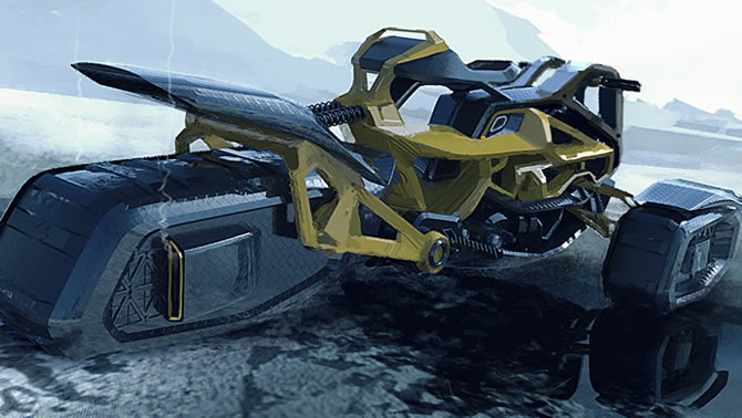 A lean and mean-looking concept snowmobile.