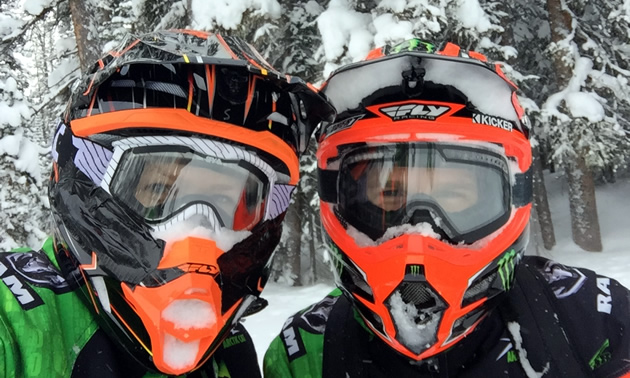 Tucker and Mandi Hibbert with the helmets on.