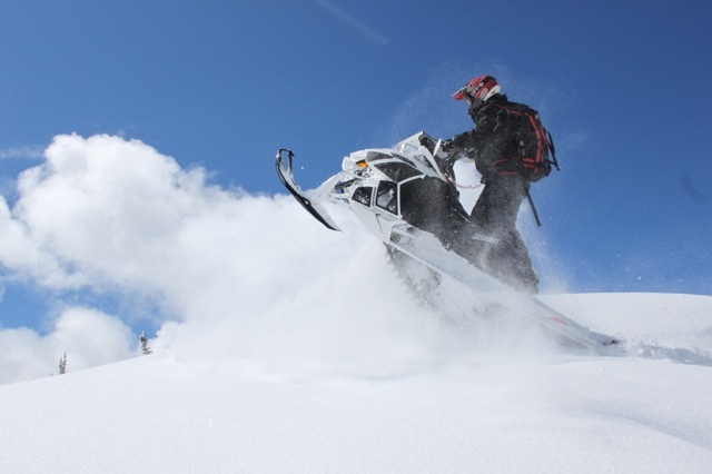 Mark Booth riding his 2013 1100 Turboed Arctic Cat on The Dome, Smithers, B.C.
