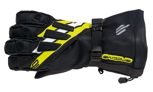 Yellow and black meridian snowmobile glove from arctiva.