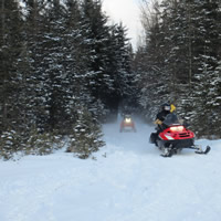 A snowmobile trail west of Hudson Bay, Saskatchewan