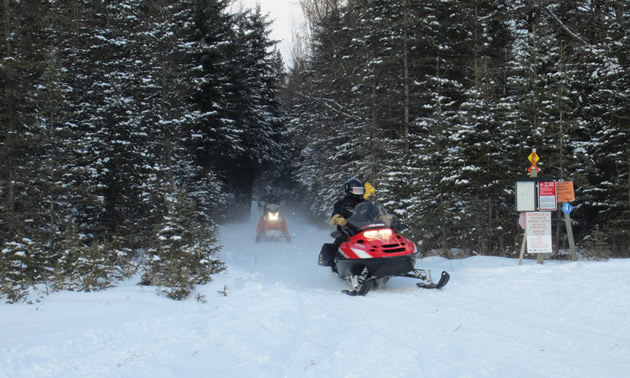 A snowmobile trail west of Hudson Bay, Saskatchewan