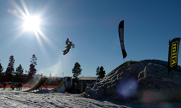 Reagan Sieg airing it out on a Timbersled snow bike.