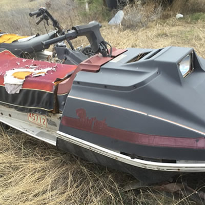 Picture of vintage Arctic Cat Pantera snowmobile.