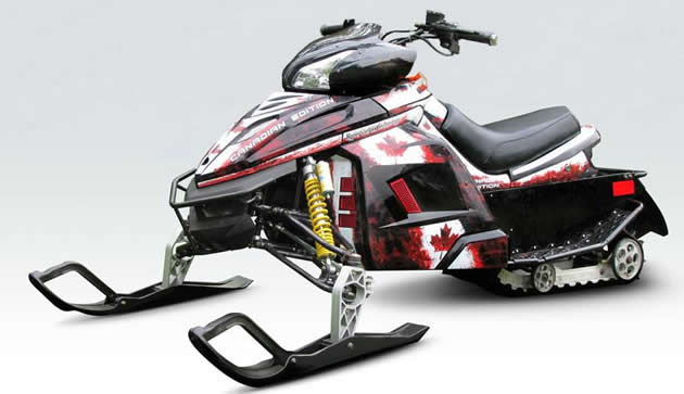 A youth sized snowmobile.