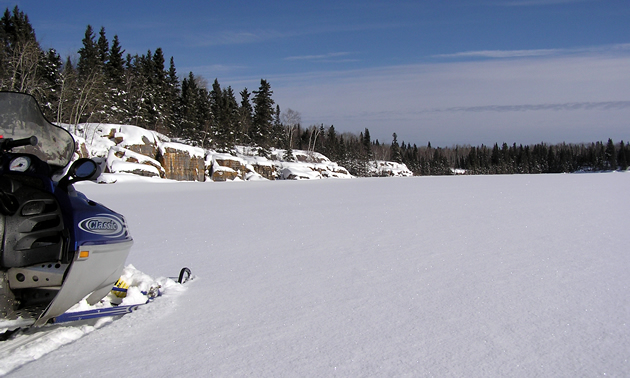 Powder covered lake in The Pas.
