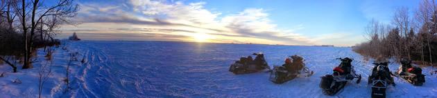 Sleds parked at a lake near Prince Albert, Saskatchewan.