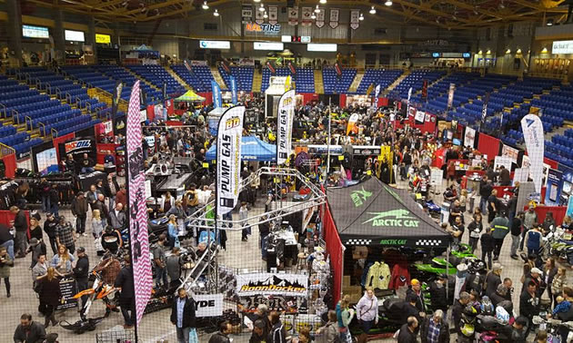 An aerial view of Kal Tire Place during the BC Snow Show.