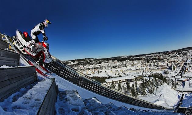Daniel Bodin preparing for his world record long jump in Sweden.