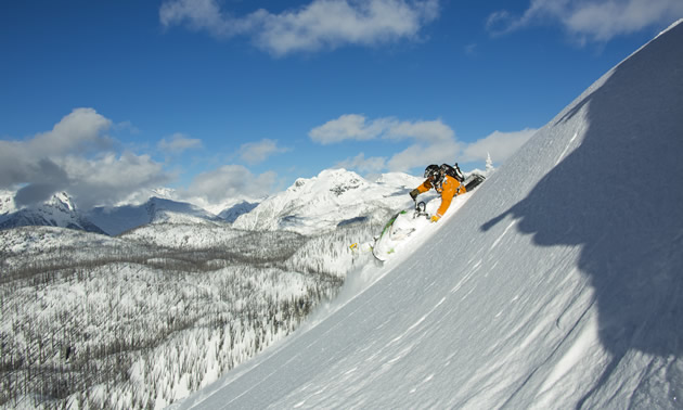 Rene St. Onge carves a sidehill in Sicamous.