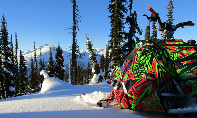 A 2014 Polaris 800 Assault RMK is brightly coloured in its red, green and black sled wrap.