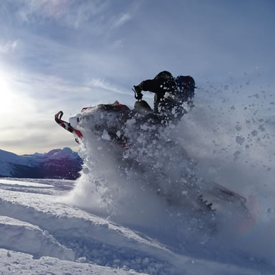 A snowmobiler blasts through fresh powder in Renshaw near McBride, B.C.