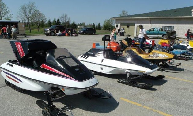 Snowmobiles belonging to Jeff Tanach and Rick Rivers from St. Andrew's, Manitoba.