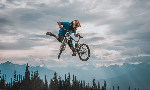 A rider tricking it at the Valemount bike park.