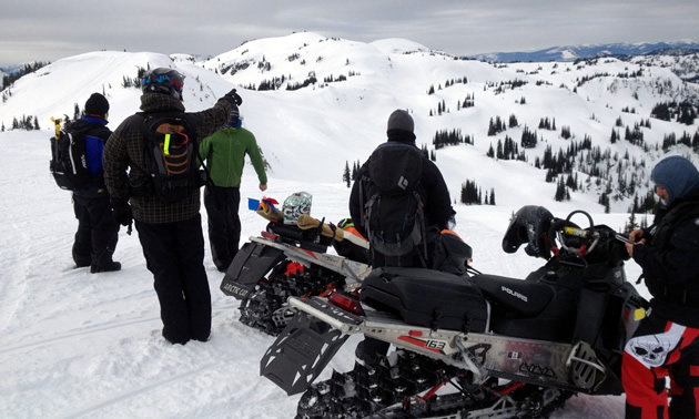 A group of snowmobilers making observations.