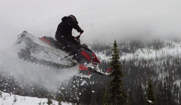 Brad Kliewer sledding at Harp Mountain near Kamloops.