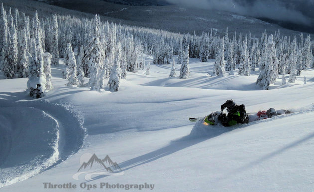 A snowmobiler carving the snow in Fernie.