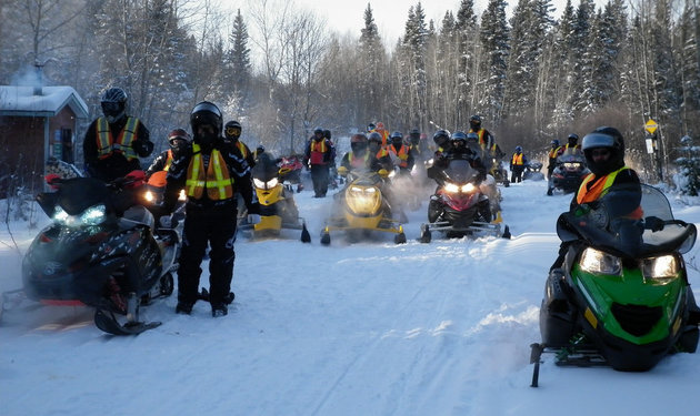 Snowmobiling in The Pas is a popular winter activity.