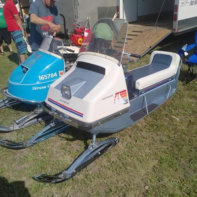 Vintage snowmobiles at the Vintage Snowmobile Show in Saskatchewan.