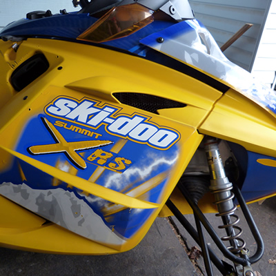 A used snowmobile that's for sale.