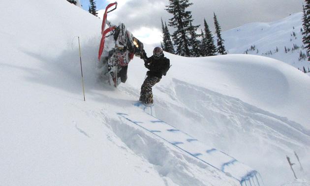 Jeremy Hanke tests a snowmobile on the Skanke Pit.