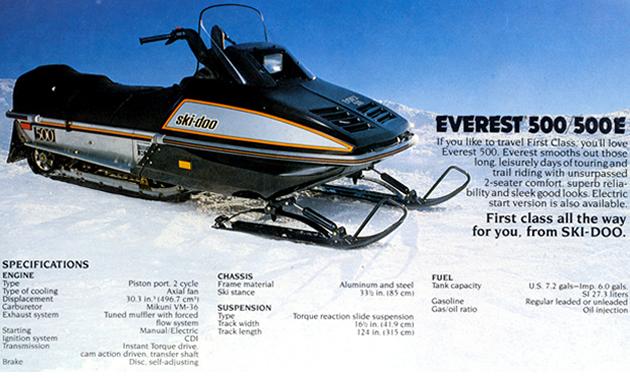 A vintage ad for the Ski-Doo Everest 500.