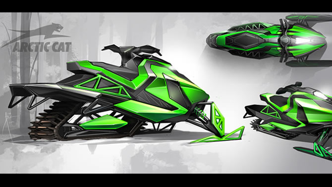 "This concept artist has the ""Arctic Cat"" futuristic sled thing happening."