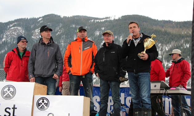 Presenting the SledTown Trophy in Sicamous.
