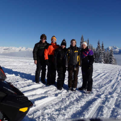 Snowmobiling is a family affair for the Yaworskis (L to R): James, Michael, Katrina, Michelle and Carol.