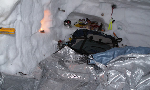 Photo of a snow cave.