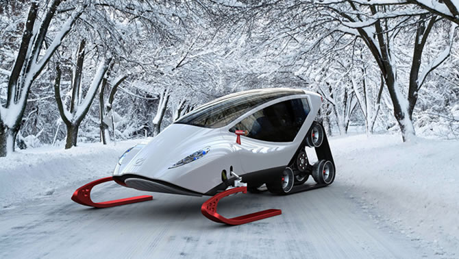 A futuristic concept snowmobile called the Snow-Crawler.