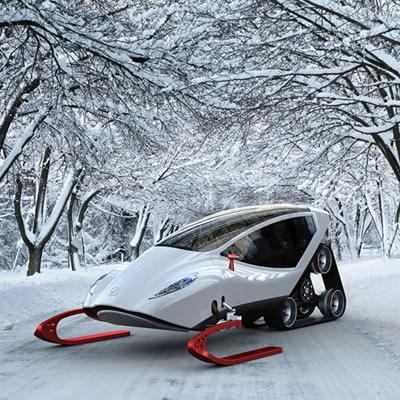 A futuristic concept snowmobile called the Snow-Crawler.