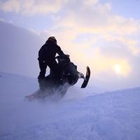 A snowmobiler in Finland.