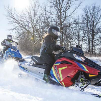 The new Polaris Indy Evo snowmobile.