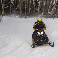 A snowmobiler coming down a snowmobile trail.