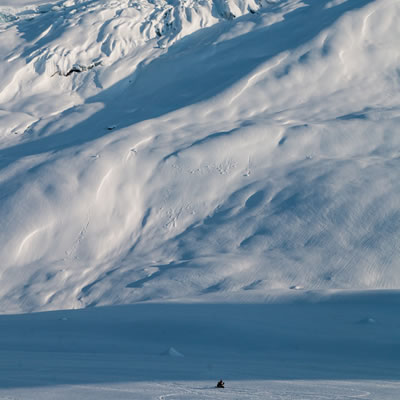 Justin Cahill slashes through the powder on Keystone Mountain near Revelstoke, BC.
