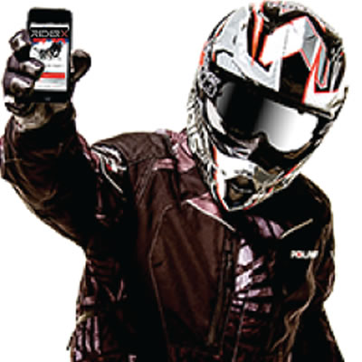 Picture of snowmobiler holding up a cell phone with the Snow Trails app on it.