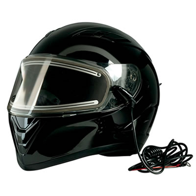 Black modular style helmet for snowmobiling.
